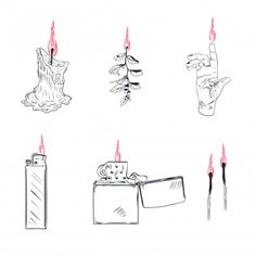 Lighter Cigarette-lighter With Fire Or Flame Light To Burn Cigarette Illustration Set Of Flammable Smoking Equipment Fire Tattoo, 1 Tattoo, Real Tattoo, Piercing Tattoo, Piercings, Flame Tattoos, Mini Tattoos, Small Tattoos, Tattoo Sketches