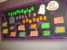Frightening Numbers of Health Halloween bulletin board for PE.