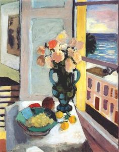 Henri Matisse - Saffron Roses in Front of the Window