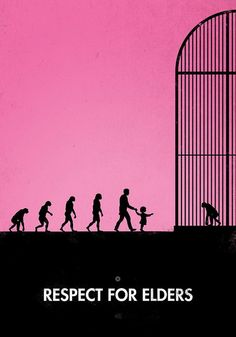 This is a very interesting poster. It uses the process of evolution of human as image and the modern human to see the ape in the cage as a metaphor of the theme: respect for elders.