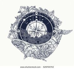 Antique compass and floral whale tattoo art. Mystical symbol of adventure, dreams. Compass and Whale t-shirt design. Travel, adventure, outdoors symbol whale, marine tattoo
