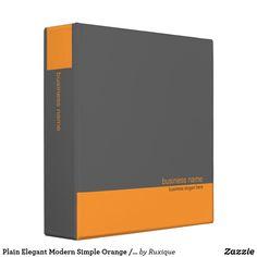 Shop Plain Elegant Modern Simple Orange / Grey Stripe Binder created by Ruxique.