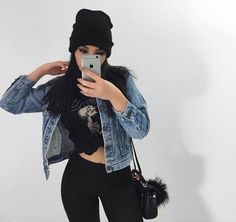 Grunge Band Tee, Denim Jacket, Black Jeans and beanie outfit Grunge Outfits, Casual Outfits, Cute Outfits, Fashion Outfits, Womens Fashion, Fashion Tips, Modern Fashion, Female Fashion, Jean Outfits