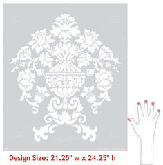 Our Encantada Damask Wall Stencil is a Damask stencil that creates a lovely allover stencil pattern. It also features our easy stencil registration system for repeating these stencils across your wall