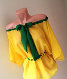 bluza din voal galben cu verde