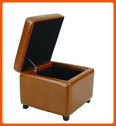 Safavieh Hudson Collection Ryder Leather Square Flip Top Ottoman, Saddle - Improve your home (*Amazon Partner-Link)
