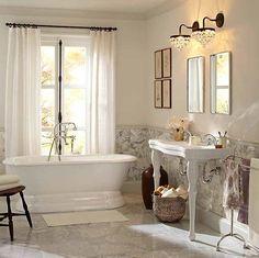 Make your bath your sanctuary. #potterybarn