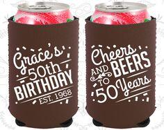 50th Birthday, 50th Neoprene Birthday, Cheers to 50 Years, Cheers and Beers, Neoprene Birthday Can Coolers (20003)