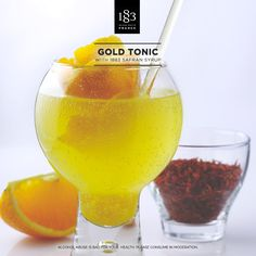 Gold Tonic with 1883 Saffron syrup #Spicy #sparkling #cocktail #bartender