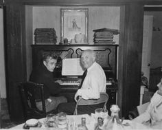 with his piano teacher.
