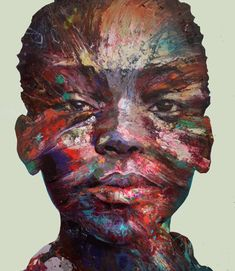 Just beautiful, so expressive! Love the textures and the mediums.  The artist paints on found objects (car hoods, appliances, etc) and concrete.