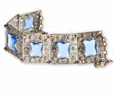 Signed Czech Art Deco Bracelet Blue Glass Etruscan by boylerpf, $65.00