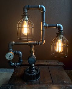 Steampunk industrial iron pipe vintage dual lamp by Alles im Griff.