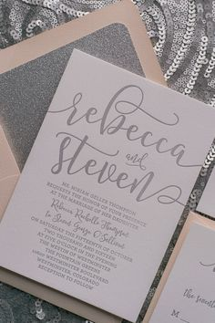 CHELSEA Suite Glitter Package, blush and silver, calligraphy wedding invitations, letterpress wedding invitations