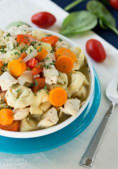 Chicken Tortellini Soup http://www.nodietsallowed.com/chicken-tortellini-soup/