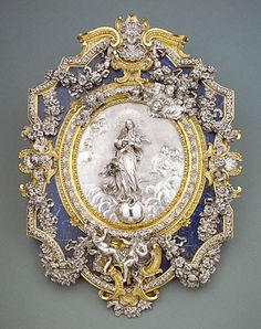 An Italian Silver, Gilt-Bronze, and Lapis Lazuli Plaque Representing the Virgin of the Immaculate Conception, Francesco Natale Antique Jewelry, Vintage Jewelry, Queen Of Heaven, Immaculate Conception, Getty Museum, Bronze, Royal Jewels, Objet D'art, Sculptures