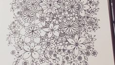 zentangle inspired flower doodles - art journal entry