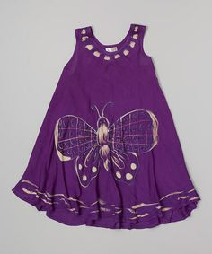 Another great find on #zulily! Purple Butterfly Swing Dress - Toddler & Girls by India Boutique #zulilyfinds