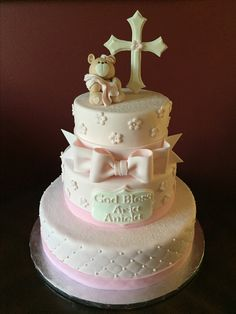 Christening Cake Cross Cakes, Baptisms, Communion, Christening, Birthday Parties, Party, Desserts, Food, Daughter
