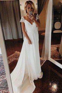 Simple A Line Chiffon Wedding Dresses Cap Sleeve V Neck Bohemian Beach Bridal Gowns - Braut Wedding Dress Chiffon, Cute Wedding Dress, Lace Mermaid Wedding Dress, White Wedding Dresses, Mermaid Dresses, Modest Wedding, Wedding White, Dream Wedding, Fall Wedding