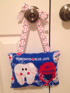 Items similar to Blue Jays Tooth Fairy Embroidered Pillow on Etsy Tooth Fairy Pillow, Teeth, Embroidery Designs, Applique, My Etsy Shop, Pillows, Knitting, Blue, Tricot