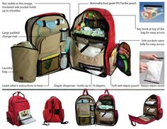 22df161c0a31 Okkatots Travel Baby Depot Bag   Travel Diaper Backpack in Cranberry Red  (showing all the