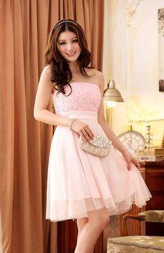 Wholesale Fashionable  Personality Sleeveless Elastic-waist Formal Dress----Pink  top dresses