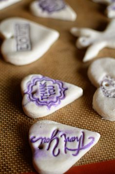 Thank you tags and cute wedding favors made at home from salt dough. Talk about budget friendly!