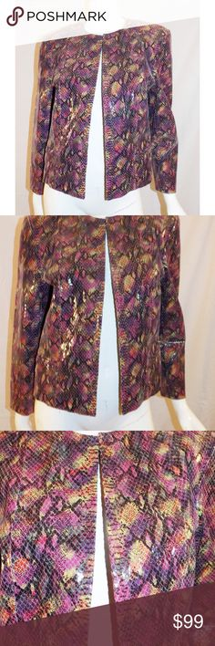 Carlisle leather jacket Python  embossed Multi color fabulous leather jacket by Carlisle. Python skin embossed leather. Like new in pristine condition. Looks totally Chanel.  Open front without closure . Great with jeans.  Size 4 Carlisle Jackets & Coats