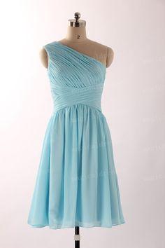 One Shoulder Bridesmaid Dresses Light Blue by magicaldresses, $72.00