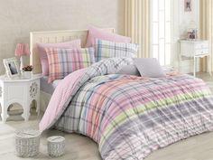 Lenjerie de pat Ranforce Riva V1 Pembe #homedecor #inspiration #interiordesign #colors Bed Sets, Bedding Sets, Comforters, King, Blanket, Deco, Modern, Cotton, Pastel