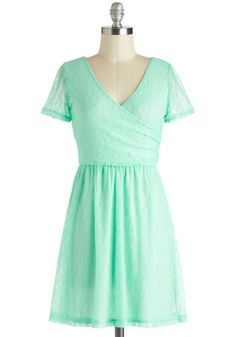 Mirthful in Mint Dress - Mint, Solid, Lace, Daytime Party, A-line, Short Sleeves, V Neck, Short, Sheer, Pastel, Spring