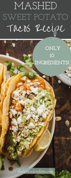 These homemade sweet potato tacos are great for busy weeknights and taste fantastic. Filled with sweet potatos, avocadoes, lime juice and more! Vegetarian Mexican, Vegetarian Lunch, Vegetarian Dinners, Meatless Recipes, Tofu Recipes, Mexican Food Recipes, Sweet Potato Tacos, Mashed Sweet Potatoes, Quesadillas