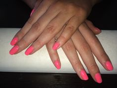 Tropical pink nails done in salon. Ph 085 2052600 for apt or www.jennifersalonclonmel.com