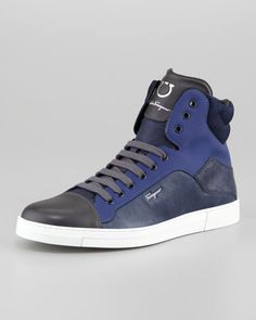 Love the Salvatore Ferragamo Stephen Hi-Top Sneaker, Navy Multi on Wantering. Classic Sneakers, Best Sneakers, Casual Sneakers, Sneakers Fashion, Casual Shoes, High Top Sneakers, Mens Shoes Boots, Men's Shoes, Shoe Boots