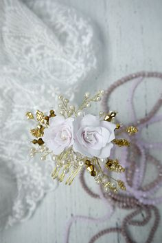 Gold Bridal hair comb Gold Bridal headpiece by liabridalcouture
