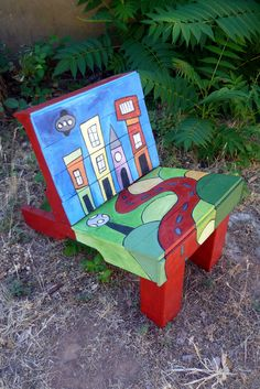 Reclaimed Wood Pallet Childrens Youth Chair Furniture Painted Town Building Road Abstract. $265.00, via Etsy.