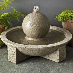 Campania Cast Stone Sphere Garden Terrace Outdoor Fountain