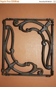 """ON SALE 2) Antique-look art deco 1920's design shelf brackets, art deco corbels, 9 1/4"""" cast iron, roaring 20's decor, free shipping, B-41 by wepeddlemetal. Explore more products on http://wepeddlemetal.etsy.com"""
