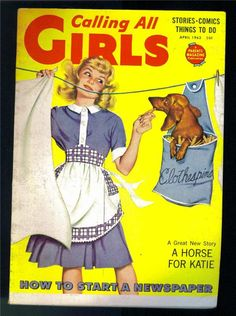 Vintage Calling All Girls magazine - Dachshund and girl on laundry day