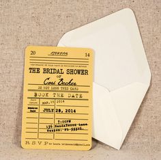 Library Card Bridal Shower Invitation Vintage by WeddingMonograms