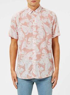 Pink and White Leaf Print Viscose Short Sleeve Casual Shirt White Leaf, Leaf Prints, Printed Shorts, Casual Shirts, Button Down Shirt, Men Casual, Mens Fashion, Shirt Dress, Men's Style