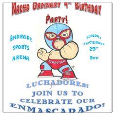 Nacho libre party invitations. Invitations. Wrestling. Lucha. Luchadores party. Lucha libre party