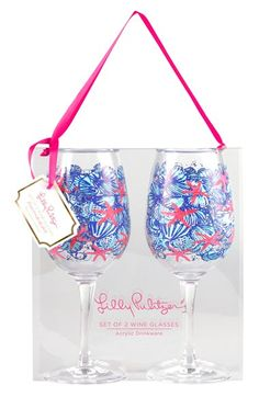 Lilly+Pulitzer®+Wine+Glasses+(Set+of+2)+available+at+#Nordstrom