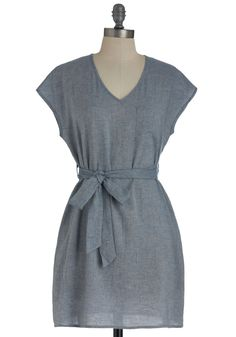 Simplicity by the Bay Dress - Solid, Pockets, Casual, Cap Sleeves, Mid-length, Sheath / Shift, Belted, Blue, Summer $44.99