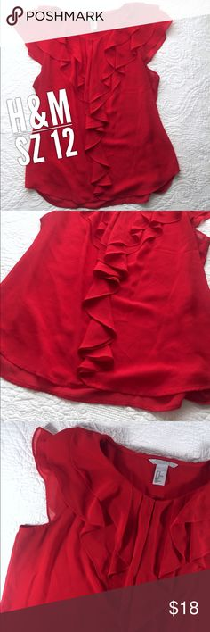 Size 12 H&M Sheer Chiffon Ruffle Top Shirt This top is in great preowned condition. It is a size 12 by H&M. It's is sheer. Super cute! H&M Tops Blouses