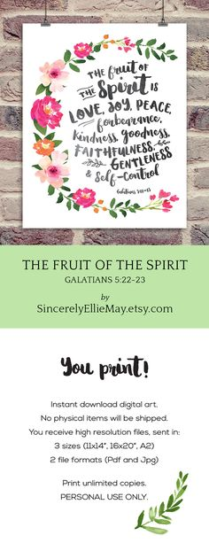 The Fruit of The Spirit, Galatians 5 printable wall art poster is an instant digital download printable that comes to you as high resolution Pdf and Jpg formats. #holyspirit #galatians #bibleverse #verseoftheday #printable #walldecor
