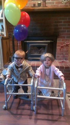 Funny DIY Toddler Couple Costume: Old Man from UP and His Old Lady... This website is the Pinterest of costumes