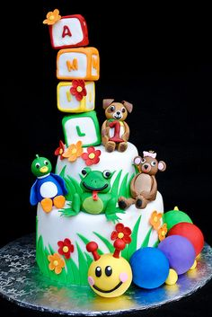 Baby Einstein cake - love this worm at the bottom