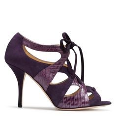 Kate Spade lace up up heels. Contrasting fabrics and texture. Gorgeous!